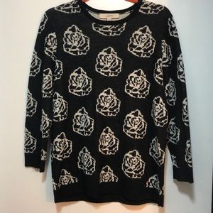 Loft black and white Rose print sweater